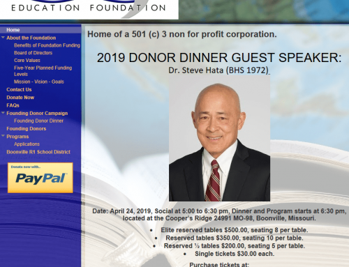 2019 BOONVILLE R-1 EDUCATION FOUNDATION DONOR DINNER